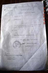 foto dokumen surat gubernur kalimantan pada tahun 1954 yang masih berpusat di banjar masin yang  memberitahukan meninggalnya gusti mahmud sebagai keturunan dari kerajaan simpang matan