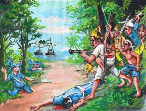 ilustras perang bulang kait atau belangkait pada tahun 1910 yan di pimpin oleh ki anjang samad dan gusti panji