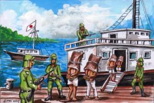 ilustrasi bujang kerepek dan raja simpang di giring ke kapal belanda 1943